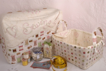 Sweet Myrtle Sewing Machine Cover and Bits & Bobs Basket ~ New Fabrics